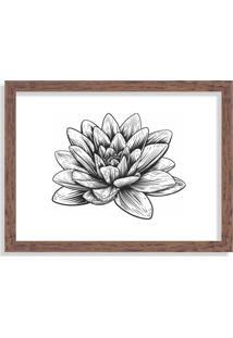 Quadro Decorativo Flor De Lótus Preto E Branco Madeira - Grande