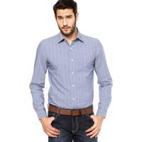 c8b3605cd3 Camisa Manga Longa Lacoste Slim Fit Listrada Azul/Branca