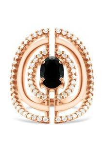 Anel Ouro Rosé Quartzo Negro E Diamantes