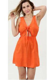 3767e8f62e2 Marisa Vestido Transparente Laranja Praia Poliamida Sem Manga Vazado Da  Moda Feminino Marisa De Saída