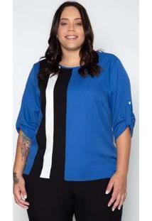 Blusa Plus Size Creponada Faixa Azul Azul