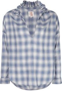 A Shirt Thing Penelope Ruffle Neck Plaid Blouse - Azul
