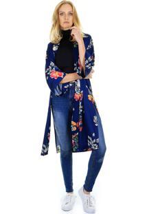Kimono Aha Estampa Floral Azul Marinho