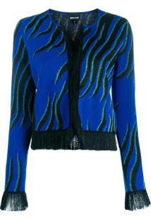 Just Cavalli Cardigan Com Franjas - Azul
