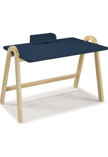 Mesa Escrivaninha Com Porta Objetos Ringo 1031 Natural/Azul Noite - Maxima