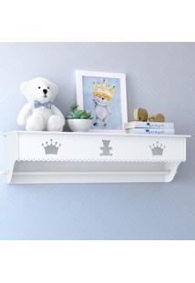 Prateleira Mdf Branca Quarto Bebê Realeza Grão De Gente Branco