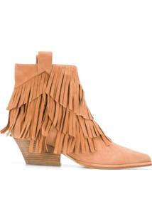 Sergio Rossi Ankle Boot Carla Com Franjas - Marrom