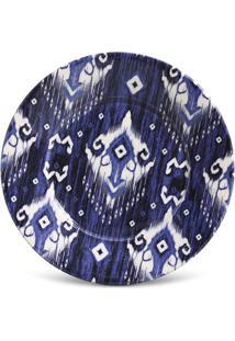 Prato Sobremesa Mônaco Ikat Blue Cerâmica 6 Peças Porto Brasil