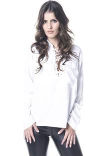 Blusa Gisele Freitas Decotada Branca