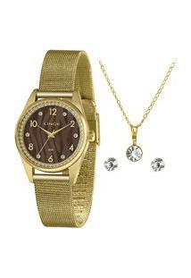 Kit Relógio Feminino Lince Analógico Lrgj137L Kz49N2Kx + Brinco + Colar Dourado