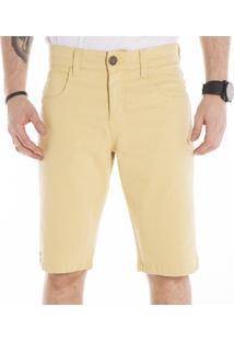 Bermuda Sarja California Prime Bolso Redondo Amarelo