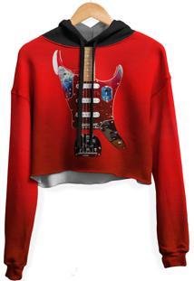 Blusa Cropped Moletom Feminina Guitarra Fender Md01 - Vermelho - Feminino - Poliã©Ster - Dafiti