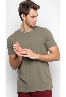 Camiseta Calvin Klein Logo Gola Masculina - Masculino-Verde Militar