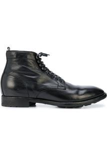 Officine Creative Ankle Boot De Couro Com Salto Baixo - Preto