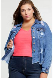 Jaqueta Feminina Jeans Destroyed Plus Size
