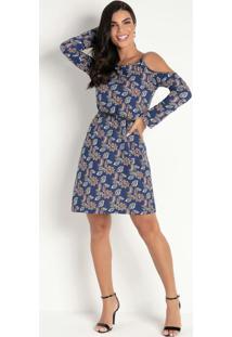 Vestido Com Ombros Vazados Flora Azul