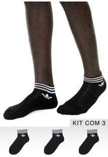 Kit 3Pçs Meia Adidas Originals Soquete Trf Ankle Stripes Preta/Branca