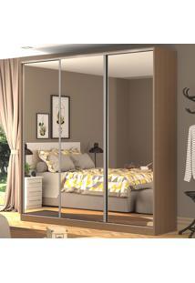 Guarda-Roupa Casal 3 Portas Correr 3 Espelhos 100% Mdf Rc3003 Ocre - Nova Mobile
