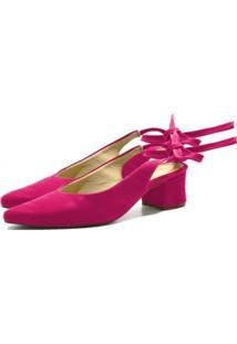 Sandália Salto Médio Flor Da Pele Pink