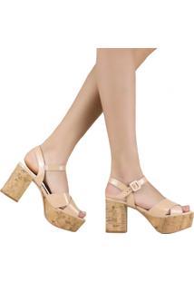 Sandália Zariff Shoes Meia Pata Salto Grosso Nude