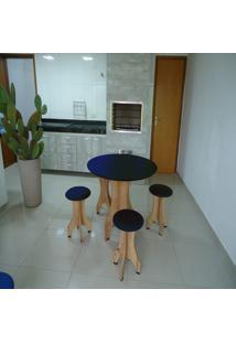 Conjunto De Mesa 78Cm Com 4 Banquetas Rubi De Madeira Antígua Com Assento Estofado Azul Cestari