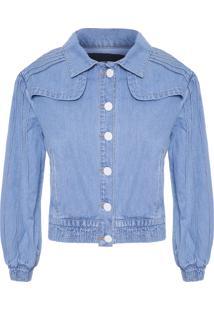 Jaqueta Feminina Nervuras Jeans - Azul