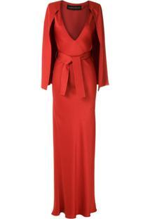 Gloria Coelho Vestido Longo Capa E Amarração - Vermelho