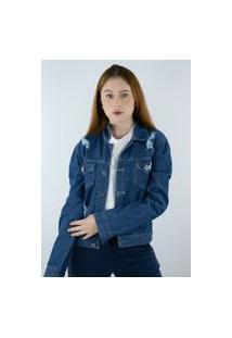 Jaqueta Jeans Escuro Ragado Destroyed Unik -Feminina Azul