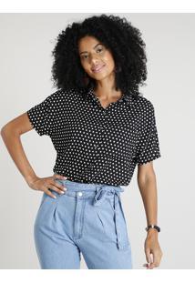 Camisa Feminina Estampada De Poá Com Bolso Manga Curta Preta