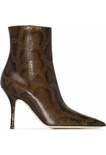 Paris Texas Ankle Boot Mama Com Efeito De Pele De Cobra E Salto 95Mm - Marrom