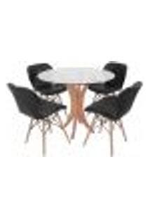 Conjunto Mesa De Jantar Tampo De Vidro 90Cm Com 4 Cadeiras Slim - Preto