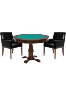 Mesa De Jogos Carteado Victoria Redonda Tampo Reversível Imbuia Com 2 Cadeiras Liverpool Corino Preto Liso - Gran Belo