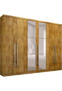 Guarda-Roupa Casal Com Espelho Bari 6 Pt 8 Gv Freijó Dourado