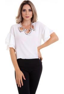 Blusa Decote Folhas Com Pedras - Feminino-Branco