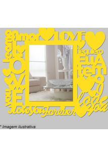 Espelho Love- Espelhado & Amarelo- 35X30X5Cm- Cicia Laser