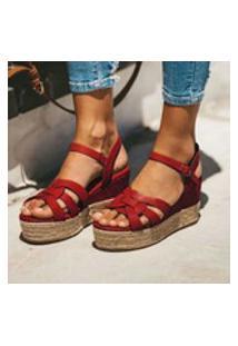Sandálias Femininas Com Plataforma Exposta Cruzada Senhora Romana Com Fivela De Tamanhos Grandes Sandálias Trançadas Com Grama Sapatos Com Plataforma À Prova D'Água De Salto Alto
