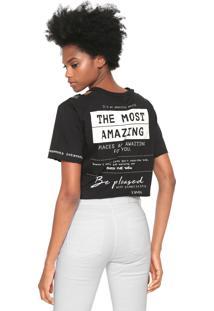 Camiseta Dimy Lettering Recortes Preta