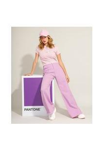 Calça Wide Pantalona Com Pregas E Barra Desfiada Cintura Super Alta Pantone Lilás