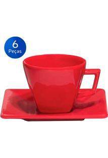 Conjunto P/ Café 6 Xícaras C/ Pires Quartier Red - Oxford