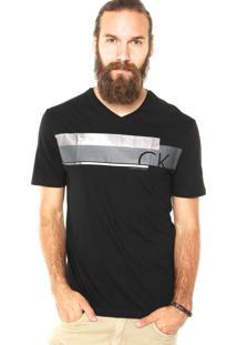 Camiseta Calvin Klein Jeans Faixas Preta