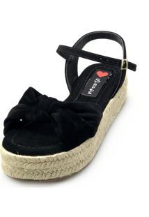 Salomé Espadrille Love Shoes Anabela Plataforma Corda Nó Preto - Kanui