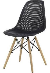 Cadeira Lópes Preta Base Natural 82Cm - 62941 - Sun House