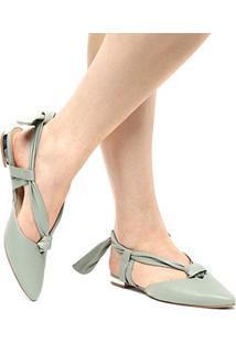Sapatilha Couro Shoestock Bico Fino Lace Up Feminina - Feminino-Verde