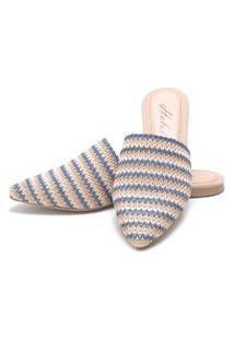 Sapatilha Mulle Bico Fino Sb Shoes Ref.10350 Azul/Bege