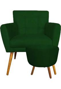 Combo Poltrona Decorativa Onix Mais Puff Redondo Suede Verde - Ds Móveis - Kanui