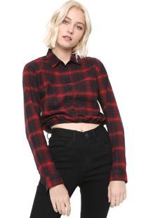 Camisa Cropped Calvin Klein Jeans Xadrez Vermelha/Preta