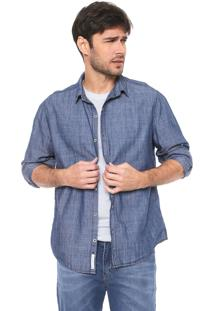 Camisa Jeans Hering Reta Pespontos Azul