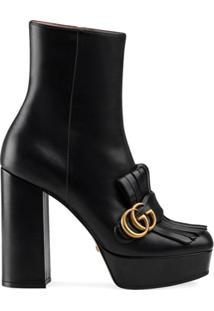 Gucci Ankle Boot Plataforma Com Franjas - Preto