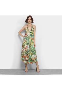 Vestido Longo Farm Selva Natural Gola V Botões - Feminino-Estampado