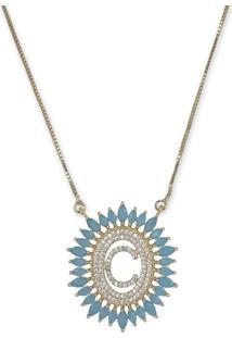 Colar Mandala Letra C Cravejado Com Zirconia Azul E Banho Ouro 18K